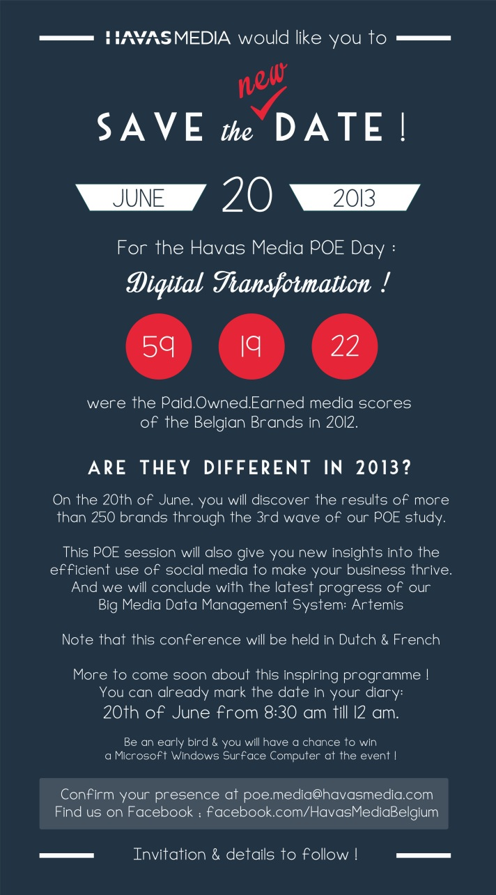 POE figures Belgium 2012: 59.19.22 ... 2013 ? 20th of june ! (Save the new date)