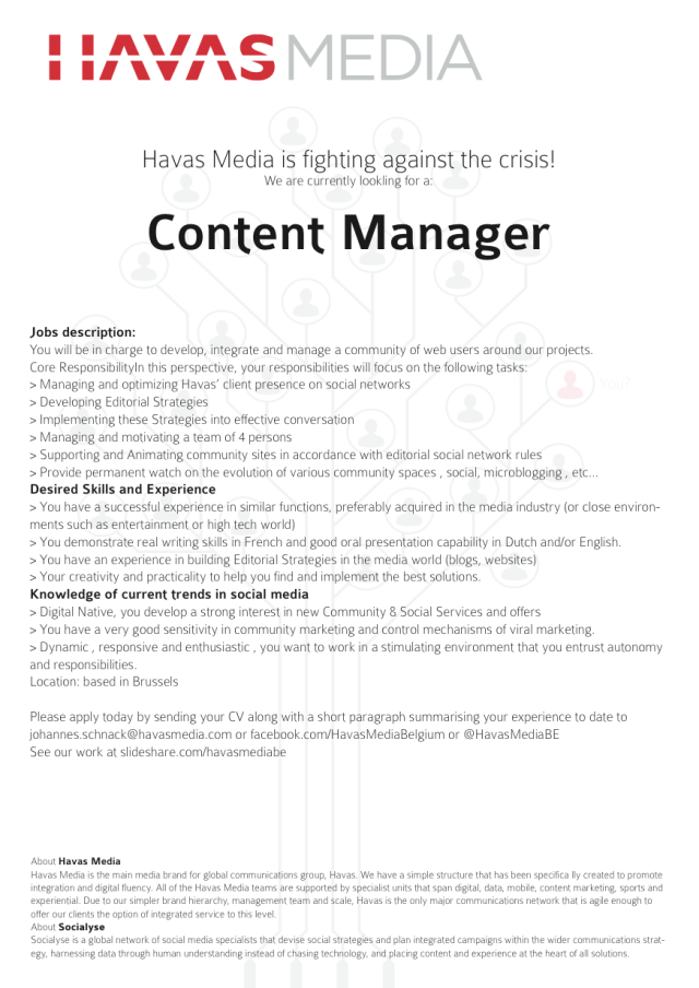 Havas Media Brussels is Hiring a Content Manager