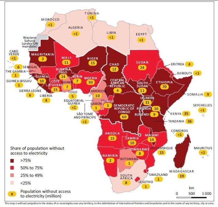 Share of population without electricity in Africa