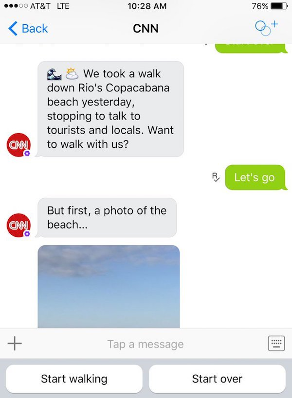 On Kik, CNN wants to bring users along on a step-by-step tour.