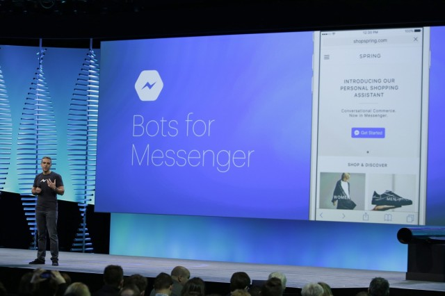 Facebook's vice president of messaging, David Marcus, spoke about Messenger at TechCrunch Disrupt. (AP Photo/Eric Risberg, File)