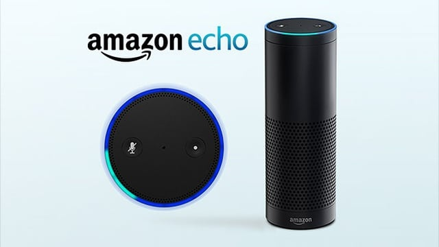 Amazon Echo bleu avec logo enceinte intelligente