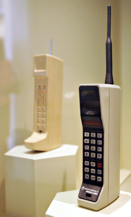 A 1984 Motorola DynaTAC 8000X, the world's first commerciall