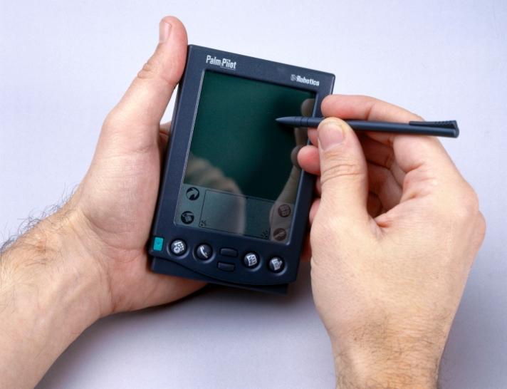 PalmPilot palmtop computer, c 1998.