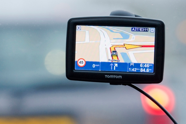 TomTom navigation device in Amsterdam